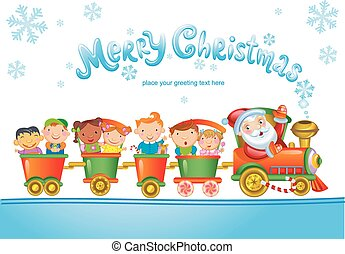 Toy train with Santa Claus and kids.