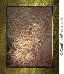 Golden shabby background with copper plate. Template