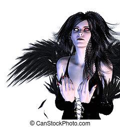 Fallen Angel - Digitally rendered illustration of a dark...