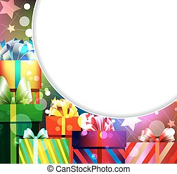 pile of gifts - Gifts in bright packing on an abstract...