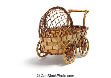 Miniatura, cestería, cochecito de niño