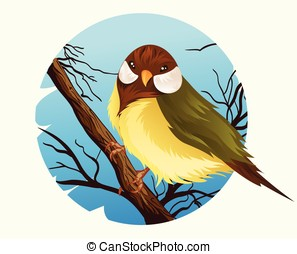 Bird Vector - Vector illustration of wren bird