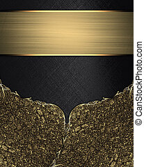 Black background with gold corner and golden ribbon Template...