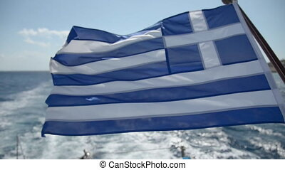 greece flag on the ship