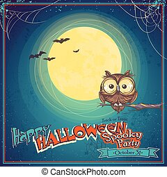 Greeting Card Halloween with owl on background of the moon