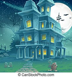Illustration of a mysterious haunted house on a moonlit...