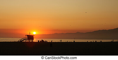 Orange Sunset Along the Sea in Venice Beach California -...