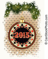 Happy new 2015 year poker chip, vector