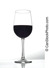 one wine glass with red wine