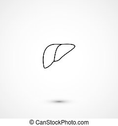Simple liver icon - Simple minimalistic flat trendy liver...