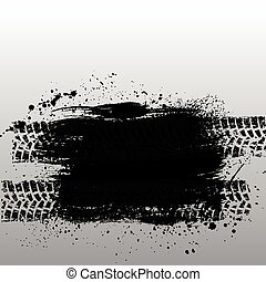Grunge tire track - Gray background with ink blots and tire...
