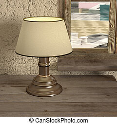 lamp - 3d rendering of a classic lamp on an old table