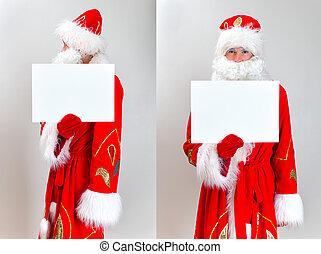 Santa Claus Mugshot Santa is holding white blank