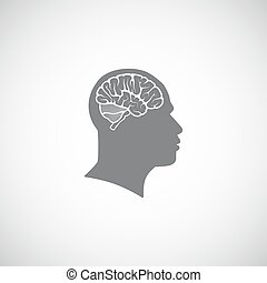 vector illustration of human head with brain