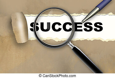 success - word success and magnifying glass with pensil made...