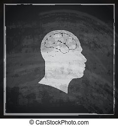 vector illustration of human head with brain on blackboard background