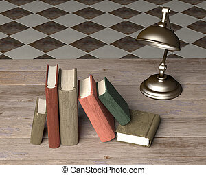 old books - 3d rendering of some old books and a lamp on a...