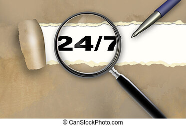 24/7 - word 24/7 and magnifying glass with pensil made in 2d...
