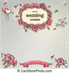 Wedding invitation card for your text on a gray background...
