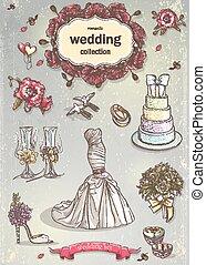 A set of wedding romantic items