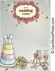 Wedding invitation with a picture of wedding items, cake,...