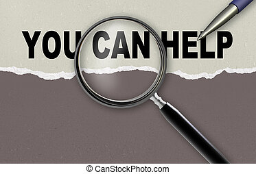 you can help - word you can help and magnifying glass with...