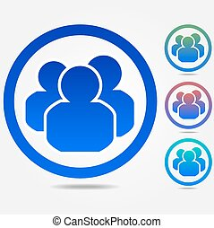 group people icon - Set of colorful group people icon