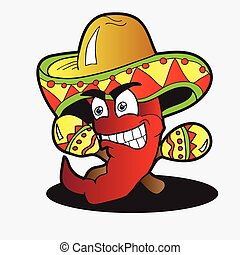Illustration of a Chili Character with a Pair of Maracas -...