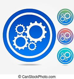 Cog settings sign icon - Cogwheel gear mechanism symbol.