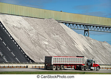 Salt Mine - Large Piles of Road Salt Being Loaded on Semi...