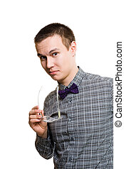 young man show interest in formal shirt look at camera...
