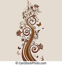 Floral vintage brown background