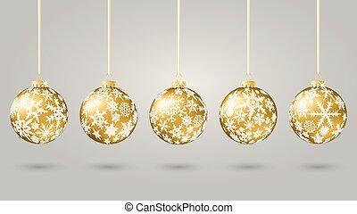 Christmas balls - Set of gold christmas balls, vector...