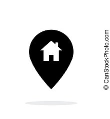 Map pin with home icon on white background.