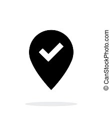 Accept map pin icon on white background.