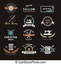 Tailor - Set of tailor labels, emblems and design elements...
