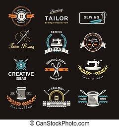 Tailor - Set of tailor labels, emblems and design elements....