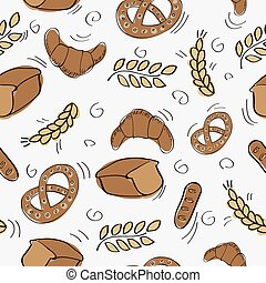 Seamless pattern with bakery products - vector illustration
