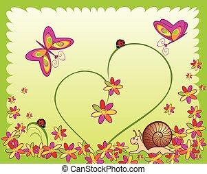 Scheda, con, coccinelle, lumaca, fiore, e, farfalla,