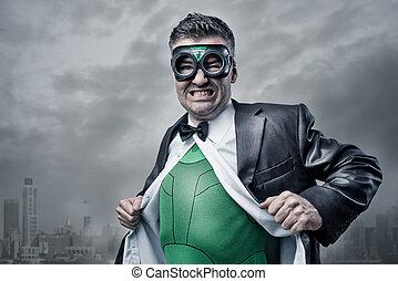 Superhero taking off shirt and jacket - Elegant superhero...