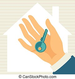 Illustration of hand holding key in flat style.