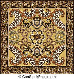 bandanna with decorative swirls in brown green colors