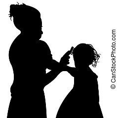 mom brudhing her daughters hair