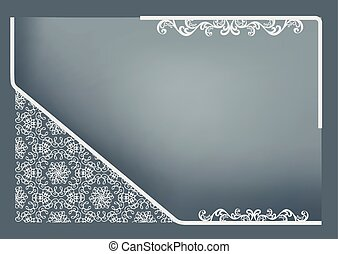 rectangular frame with abstract decor on gray turquoise...