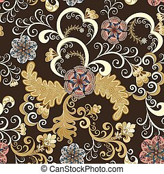 seamless pattern with beige swirls - Decorative seamless...