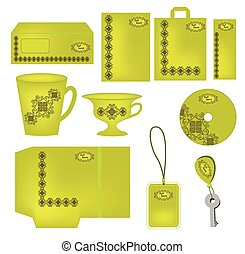Bright green  abstract corporate style with ornaments