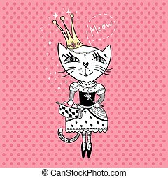 Royal cat - Funny cat with crown and bag in a beautiful...