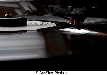 old turntable on a dark background