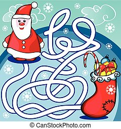 Maze game or activity page for kids - Help Santa to choose...