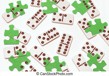 Dominoes and Puzzles - Composite of Dominoes and Puzzles